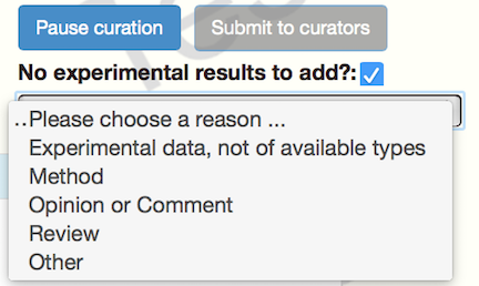 option for paper without curatable experimental data
