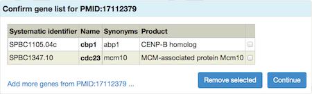 uploaded gene list